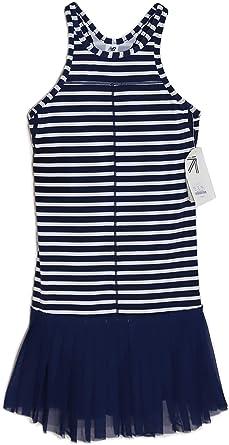 Navy Striped Mesh Skirt Tennis Dress