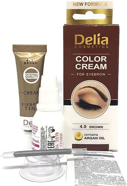 Tinte profesionales para cejas profesionales, 25 ml Delia KIT Marrón (Marrón)