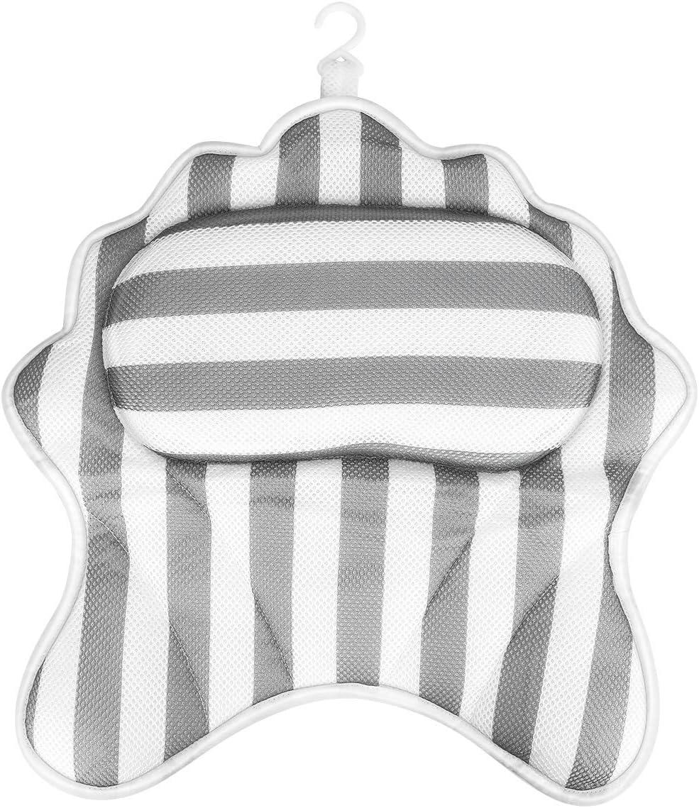 Powcan Cuscino Vasca da Bagno Poggiatesta per Vasca da Bagno Cuscino con 6 Ventose Antiscivolo for Testa Collo ergonomico idromassaggio Jacuzzi Morbido poggiatesta Schiena e Spalla di Supporto