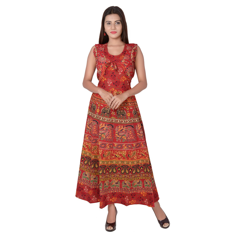 256c65939ba Jaipuri Fashionista Women s Cotton Maxi Dress (49-Jfjd-Tm-Bld Blue Free  Size Upto 44-Xxl)  Amazon.in  Clothing   Accessories