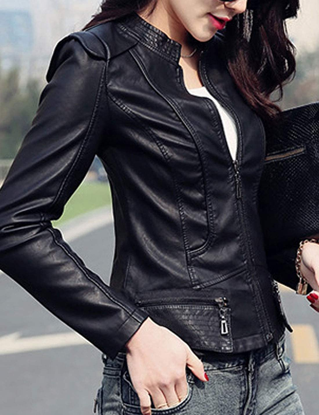 HUPOO Womens Slim Fit Stand Collar Full Zip Outerwear PU Leather Moto Jacket Coats