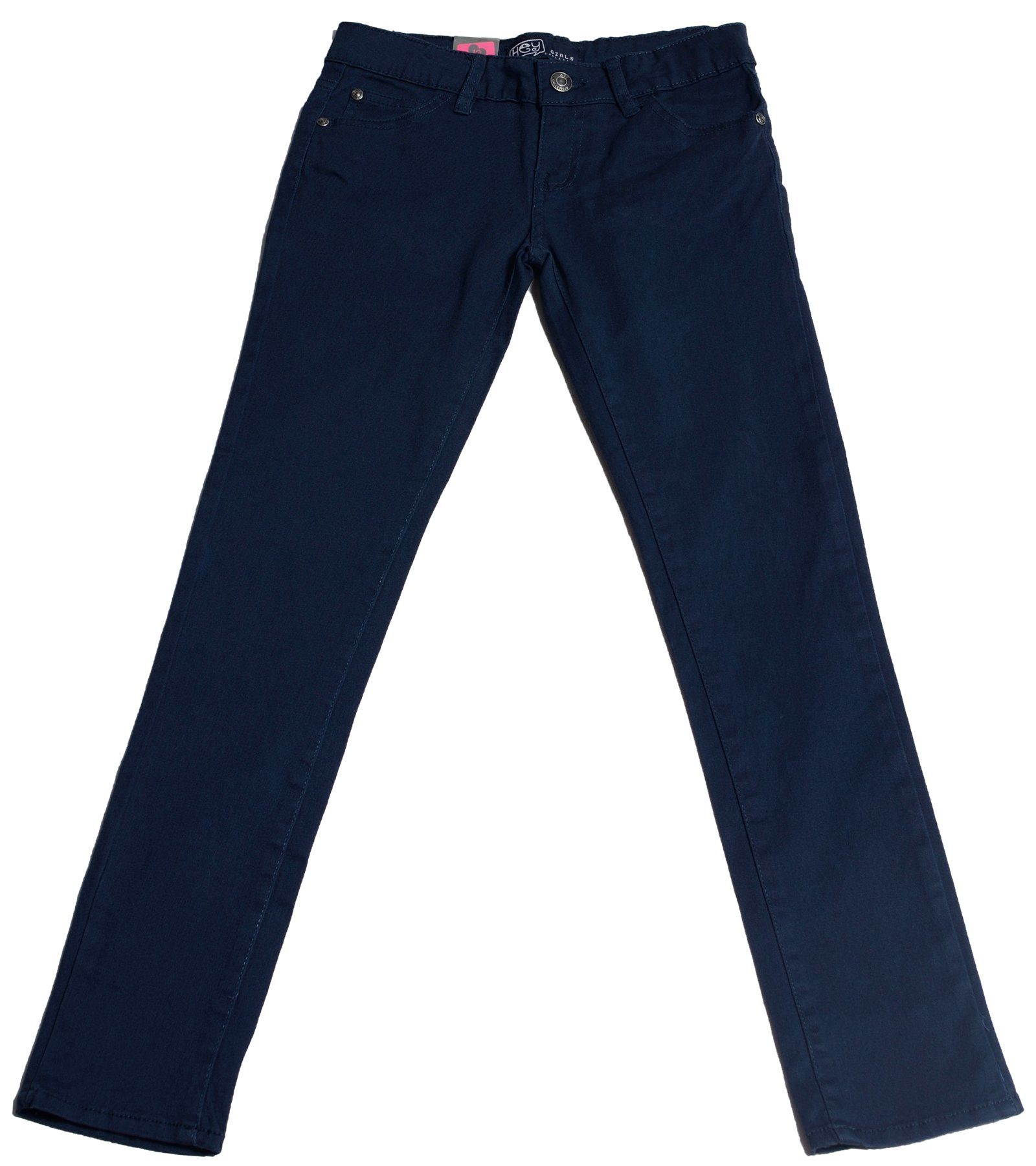Hey Collection Big Girls Brushed Stretch Twill Skinny Jeans,7,Navy