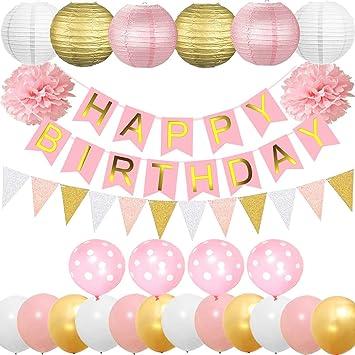 Cebelle Fiesta cumpleaños Decoraciones Suministros, Rosa para niñas Oro Banner Feliz cumpleaños, 6 lámparas Papel, 2 Flores de Tejido, 15 Piezas ...