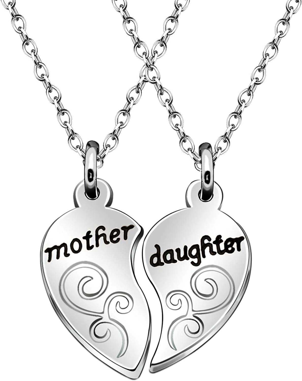 Juego de collares con colgante de corazón para madre e hija, 2 piezas, regalo de cumpleaños para el día de la madre