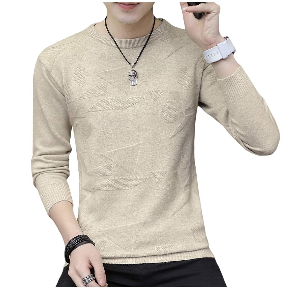 YUNY Mens Long-Sleeve Jacquard Silm Fit Knitwear Chic Soft Pullover Sweater Beige S