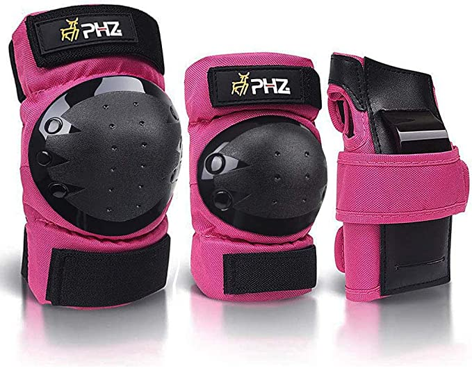 NHH Kids Knee Pads Set 6 in 1 Protective Gear Set Knee Pads Elbow Pads and Wrist Guards for 3-8 Boys and Girls