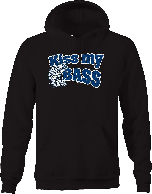Kiss My Bass Distressed Blue Fishing Lure Hook Pole Ocean Water Hoodies for Men