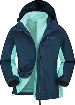 Mountain Warehouse Chaqueta Impermeable Lightning Infantil - Triclima, Costuras Selladas - Capucha extraíble y Forro Polar Interior - Múltiples Bolsillos - Senderismo, Invierno