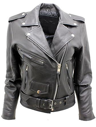 3694b5cb0 Women's Stylish Brando Black Leather Biker Jacket at Amazon Women's ...