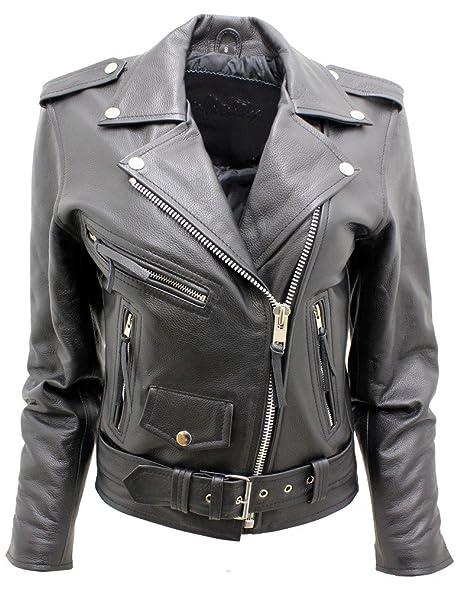 Amazon.com: De la Mujer Elegante Brando piel Negro Biker ...