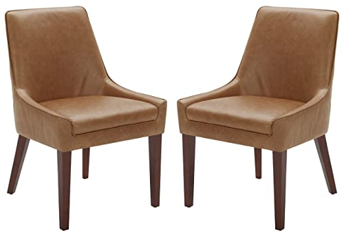 Rivet Contemporary Welt-Trimmed Dining Chair, 35 H, Cognac, Set of 2
