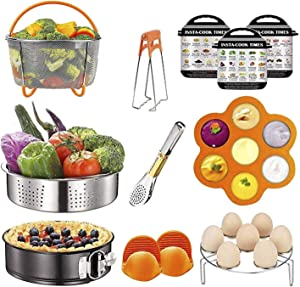 12 Pcs Instant Pot Accessories Set Compatible with 6 8 Qt, Pressure Cooker Accessories with Steamer Basket, Cake Pan, Rack, Egg Bites Mold, Bowl Clip, Tongs, Gloves, Ebook