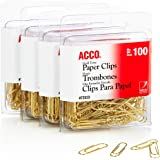 ACCO Gold Tone Clips, Smooth Finish, 2 Size, 100/Box, 4-Pack (400 Clips Total) (A7072554)