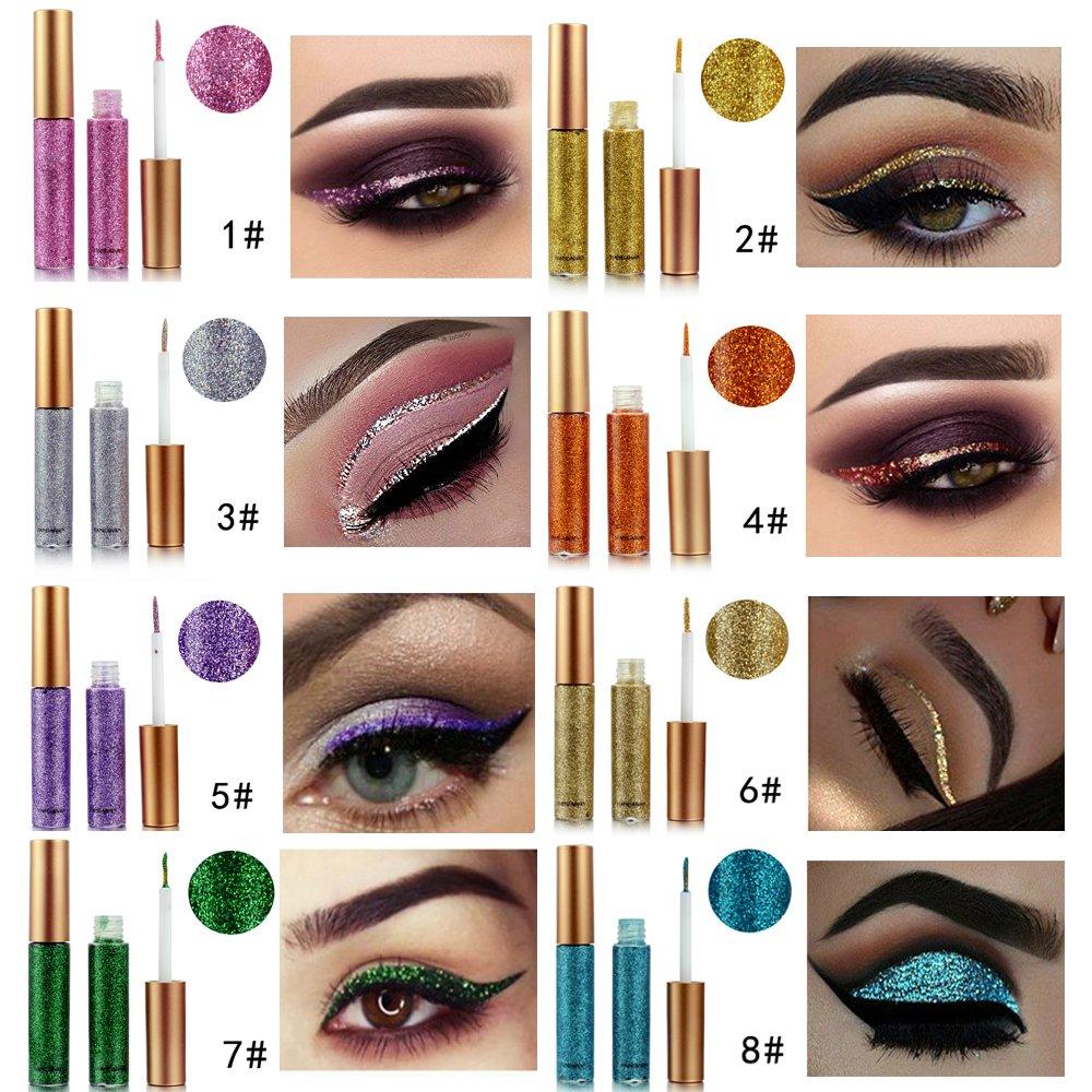 10 Colors Liquid Glitter Eyeliner Metallic Shimmer Glitter Eyeshadow Pigment Eyebrown Shimmer Waterproof Face Lips Art for Party Festival Makeup by Bestland (Image #2)