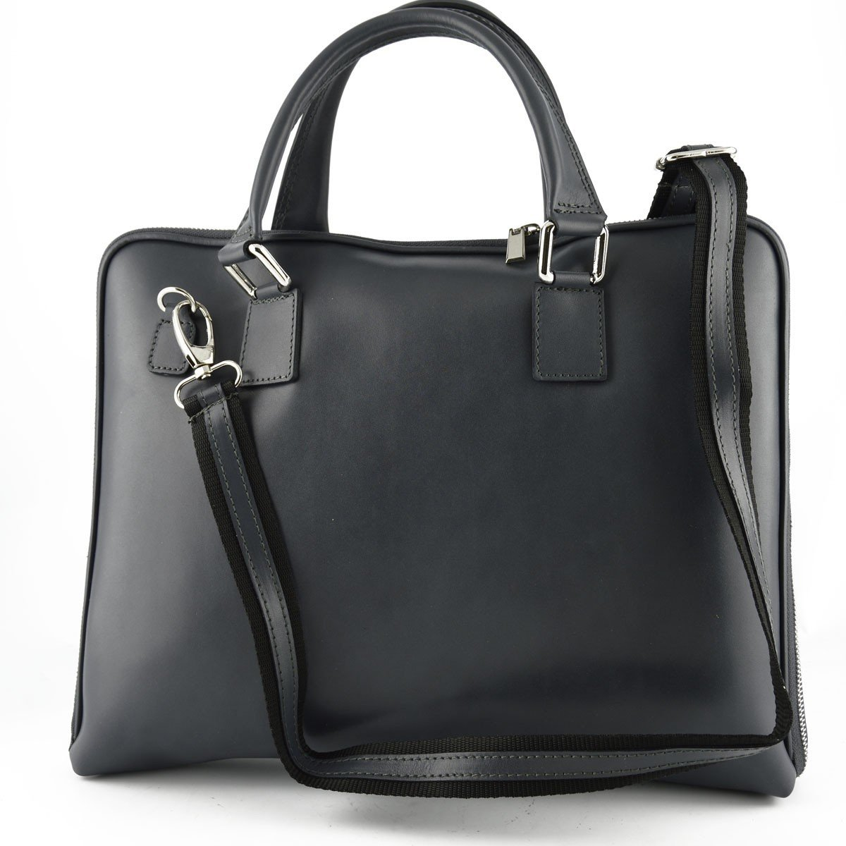 Made In Italy Genuine Leather Woman Briefcase Color Dark Grey - Business Bag B01M0FT4A4
