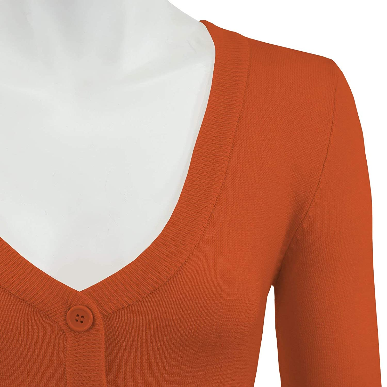 YEMAK Womens Cropped 3  4 Sleeves Cardigan Sweater Vintage Inspired ... 5245b7b70