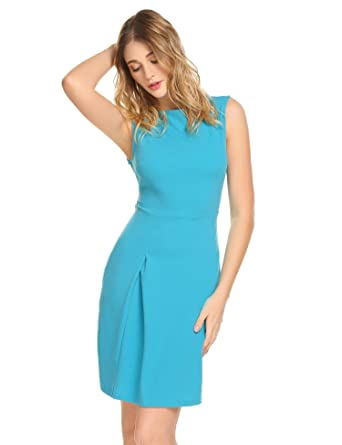 e7d952ff01 ANGVNS Women s Vintage Elegant Sleeveless Official Wear to Work Business  Party Pencil Dress - Blue -
