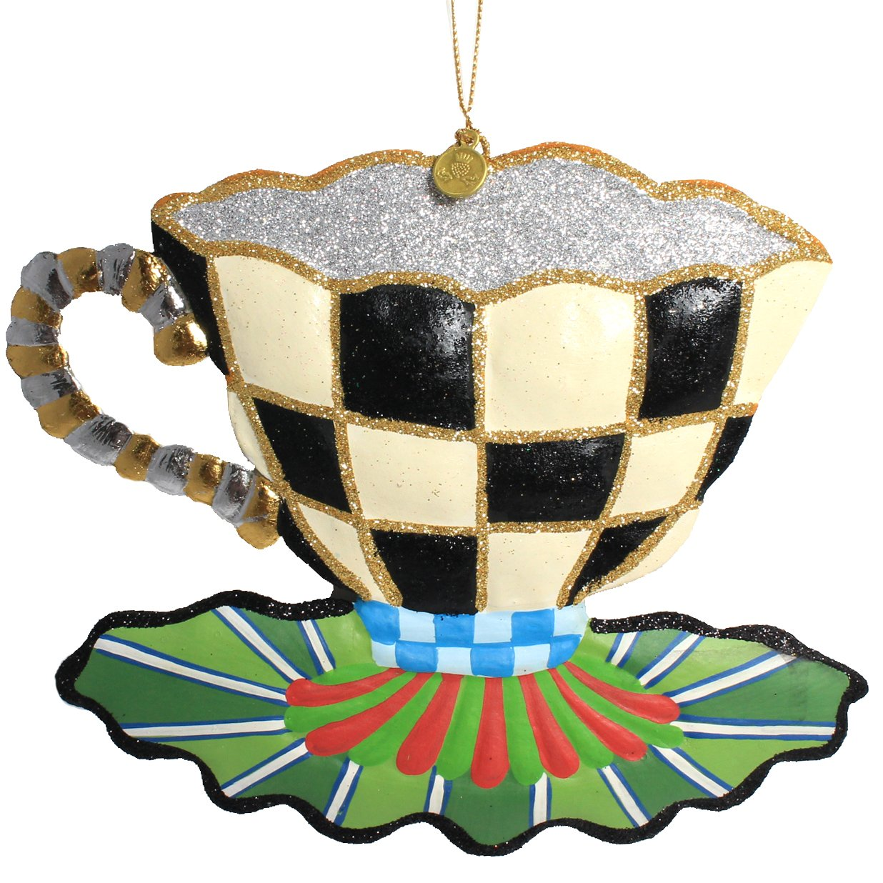 MacKenzie-Childs Courtly Check Hand-Painted Tea Cup Christmas Ornament with Green Base