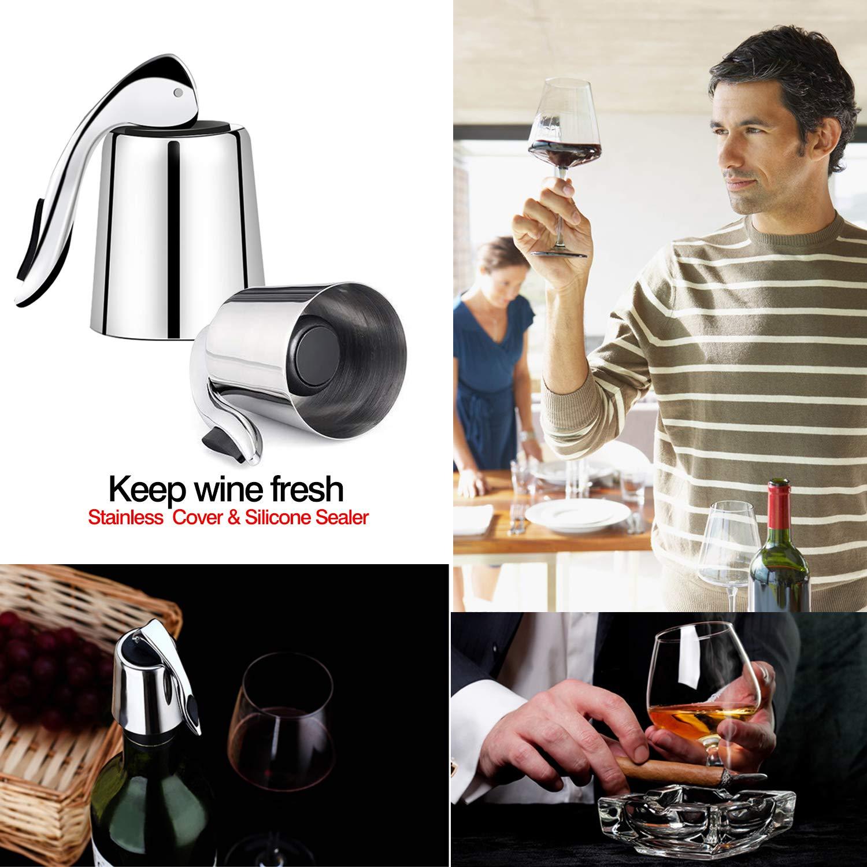 wiederverwendbarer Gummiverschlu/ß mit eingebauter Druckpumpe zum Frischhalten des Weins Fippy 4er Pack Edelstahl Weinverschl/üsse Flaschenverschl/üsse Vakuum-Flaschenverschlu/ß