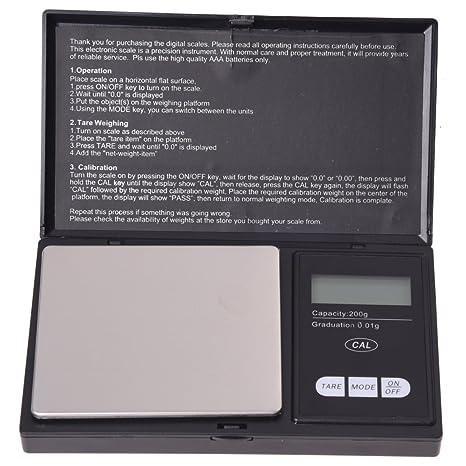 SODIAL (R) LCD balanza cabestrillo de precision 0.01g /200g NEGRO