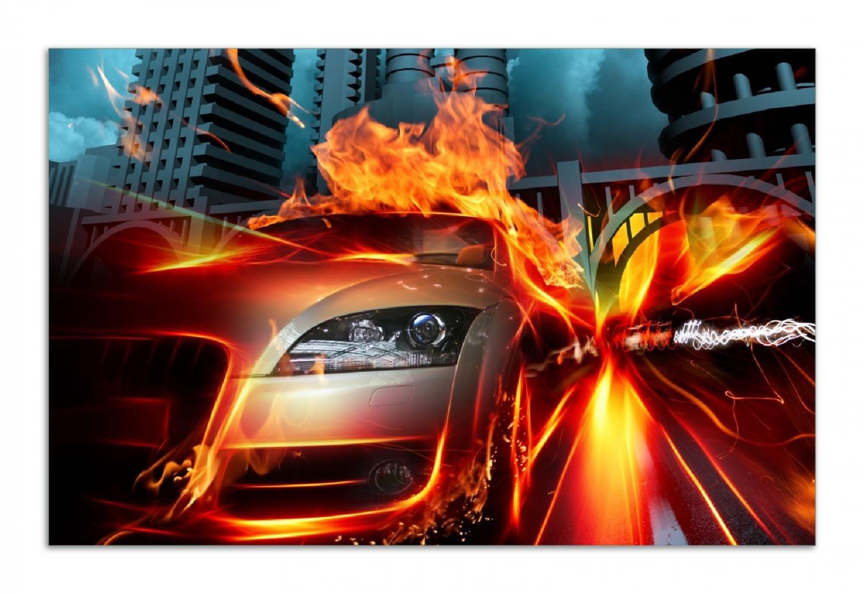 1-teilig f/ür Ceran- und Induktionsherde 52x60cm Brennendes fahrendes Auto Wallario Herdabdeckplatte//Spritzschutz aus Glas
