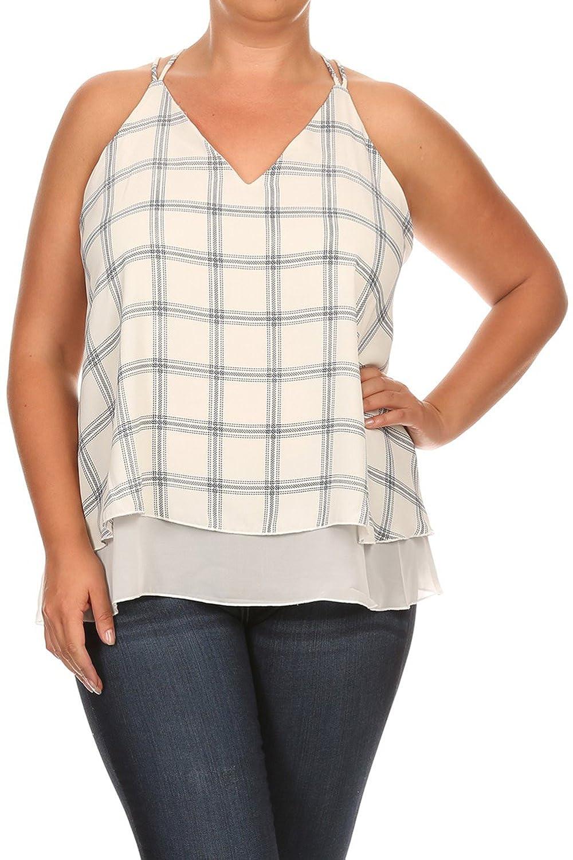 Vialumi Women's Junior Plus Checker Grid Print Layered Strappy Tank Top