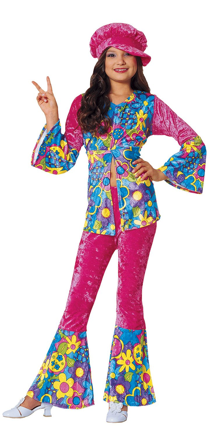 60s 70s Kids Costumes & Clothing Girls & Boys Costume Culture Womens Flower Power Girls Costume Pink Small $21.12 AT vintagedancer.com