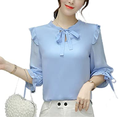 OUXIANGJU New Women Summer Chiffon Blouse Short Sleeve Office Shirts Female Ruffle Plus Size Tops