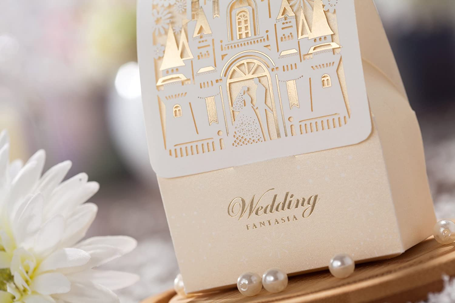 Amazon.com: Wishmade 50pcs Laser Cut Wedding Favor Boxes Candy box ...