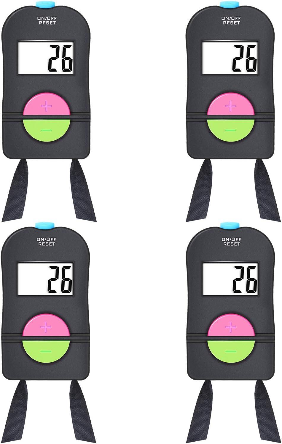4 Piezas Contadores Digital de Conteo Manual Contador de Deportes de Golf Clicker Manual de Sustraer Añadir Añadir Contador de Clic de Número Mecánico de Mano con Cordón de Cuello