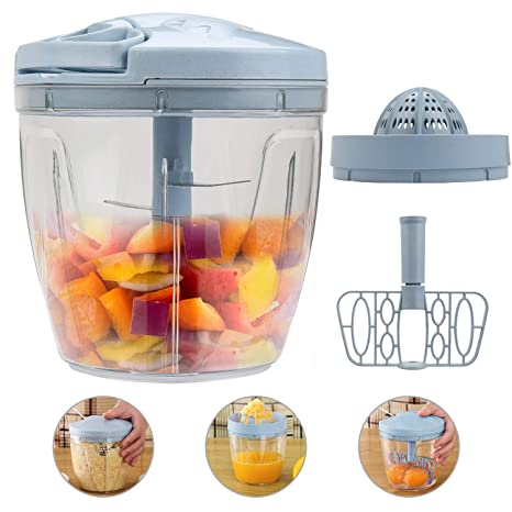 Amazon.com: 3 en 1 picadora manual de alimentos con 5 ...