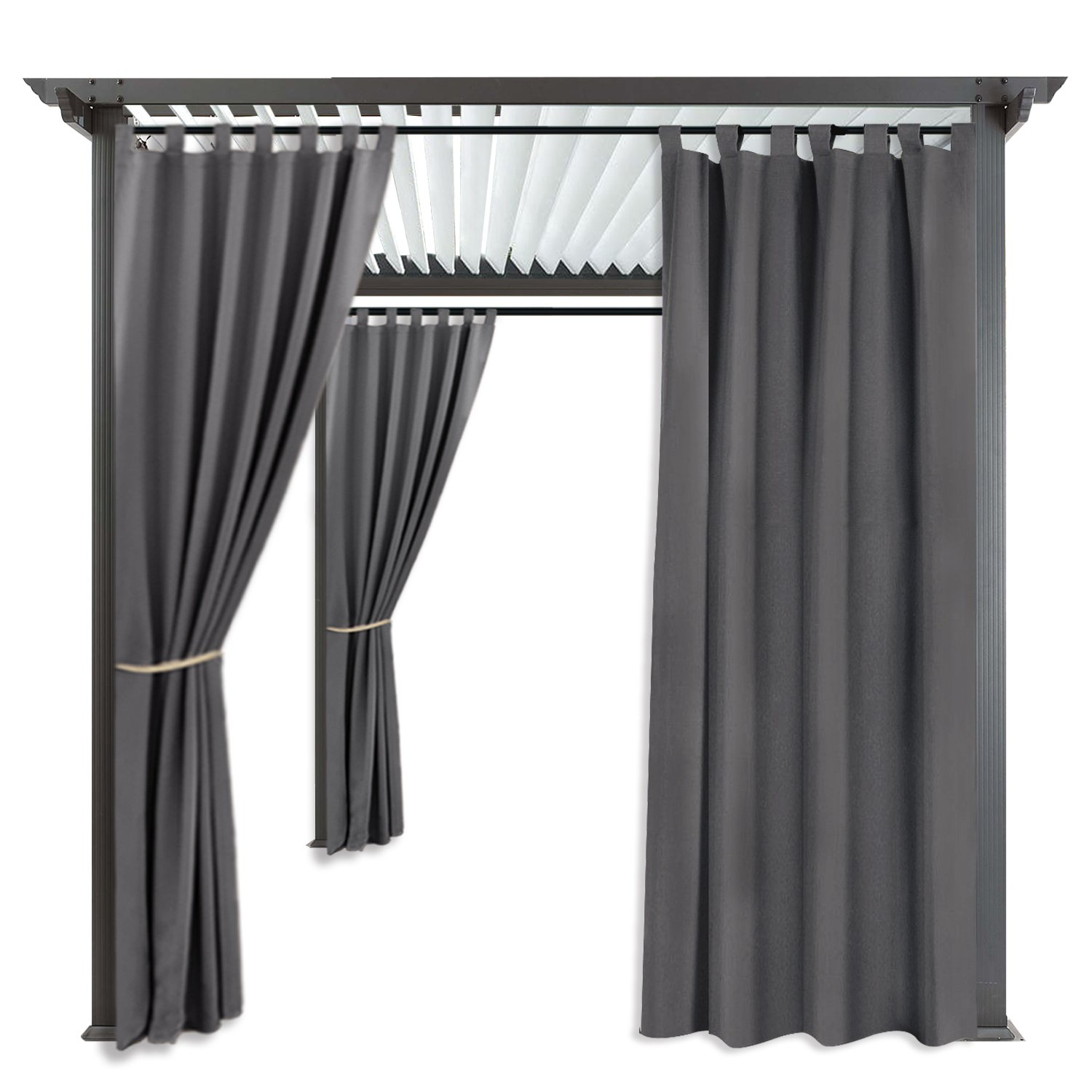 RYB HOME Balcony Curtains Outdoor - Portable Patio Blackout Shades Window Treatment Tab Top Waterproof Windproof Outdoor Indoor Privacy Curtain Drape, 1 Panel, Wide 52 by Long 84 Inch, Grey