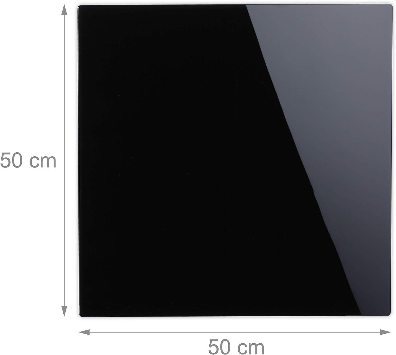 Relaxdays Tableau magn/étique inscriptible avec 3 aimants et Stylo effa/çable sans Cadre en Verre Noir 15 x 80 cm