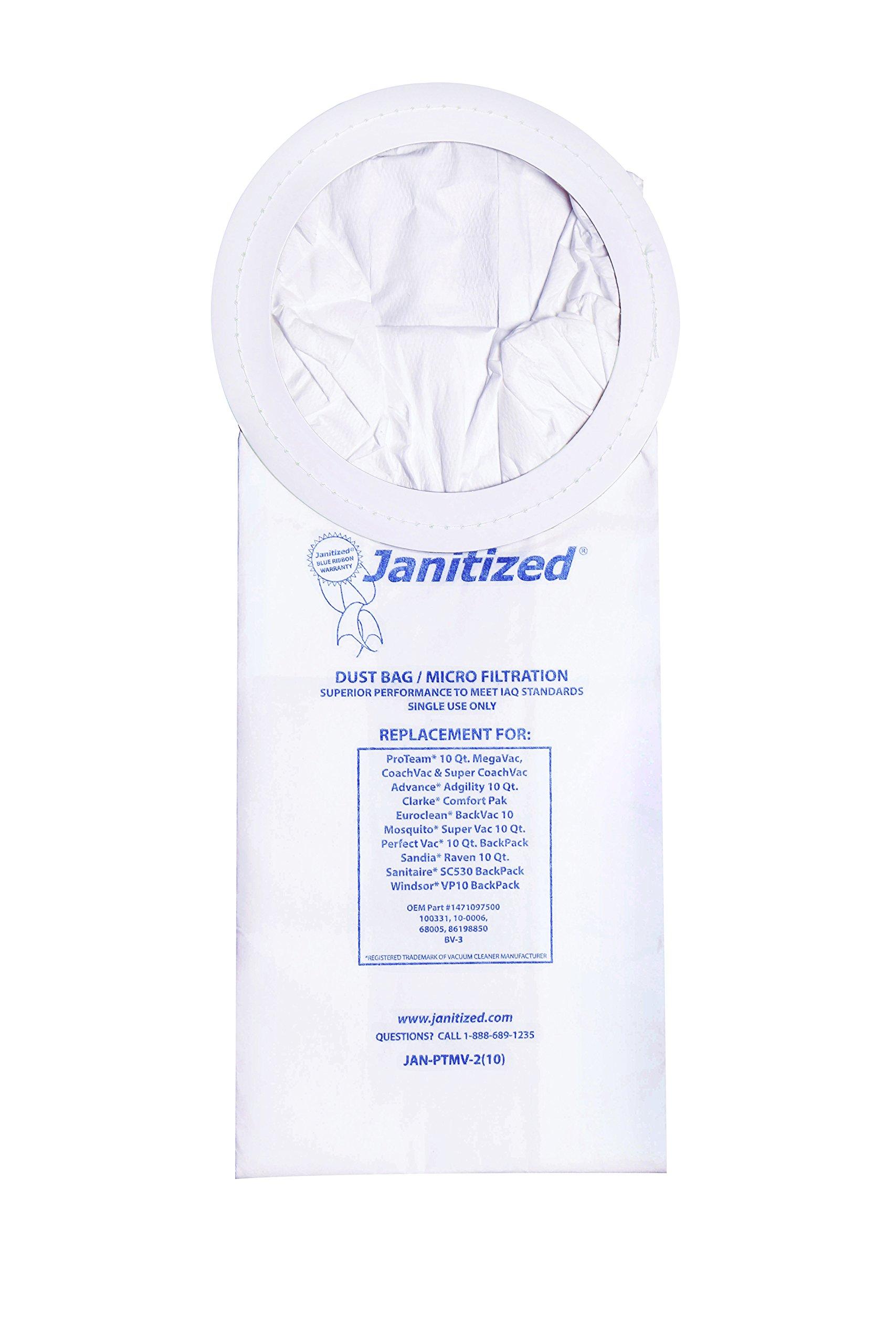 Janitized JAN-PTMV-2(10) Premium Replacement VacBag:ProTeam SuperCoach,Mosquito,Advance Adgility,Sandia Raven 10qt,Sanitaire SC530 OEM#1471097500,62135,100331,10-0006(10 count)