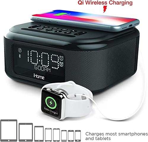 iHome iBTW23 Alarm Clock Bluetooth Stereo with Lightning iPhone Qi Wireless Charging Dock Station for iPhone Xs, XS Max, XR, X, iPhone 8 7 6 Plus USB Port to Charge Any USB Device