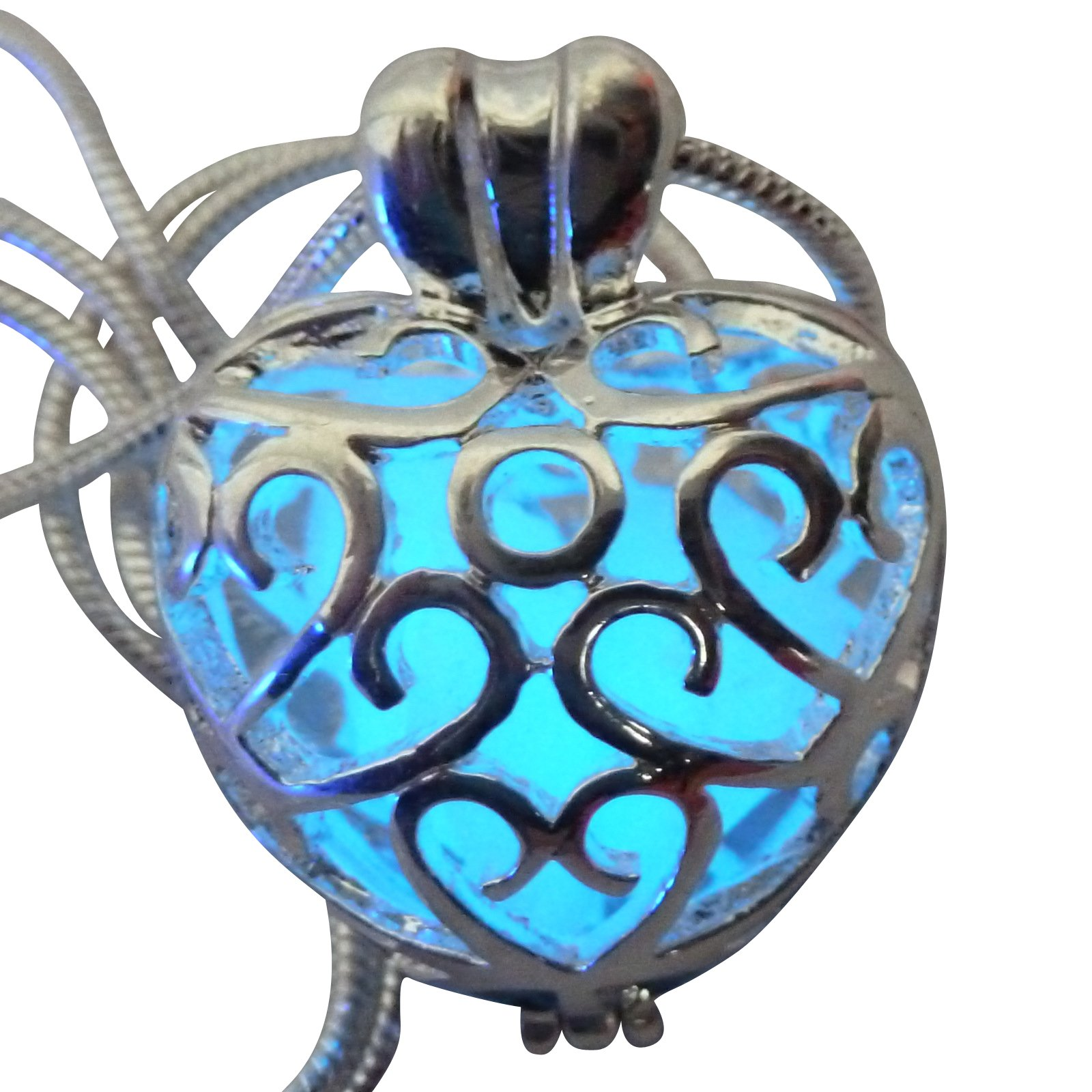 umbrellalaboratory Wishing Heart Fairy Magical Fairy Glow in the Dark Necklace-blue-sil