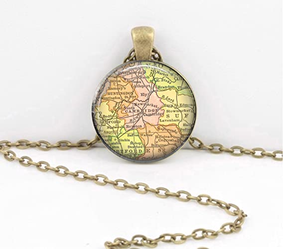 Amazon com: Cambridge UK England Map Jewelry Vintage Map