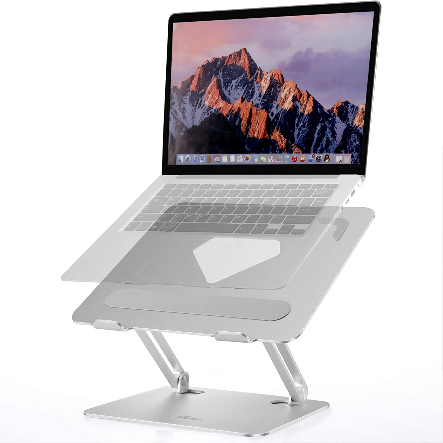 Laptop Stand Ergonomics TopMate Adjustable Laptop Riser, Aluminum Notebook Holder Stand Compatible with 10-17.3 inch Mac, MacBook, HP, Dell, Acer, Lenovo Laptops-Silver