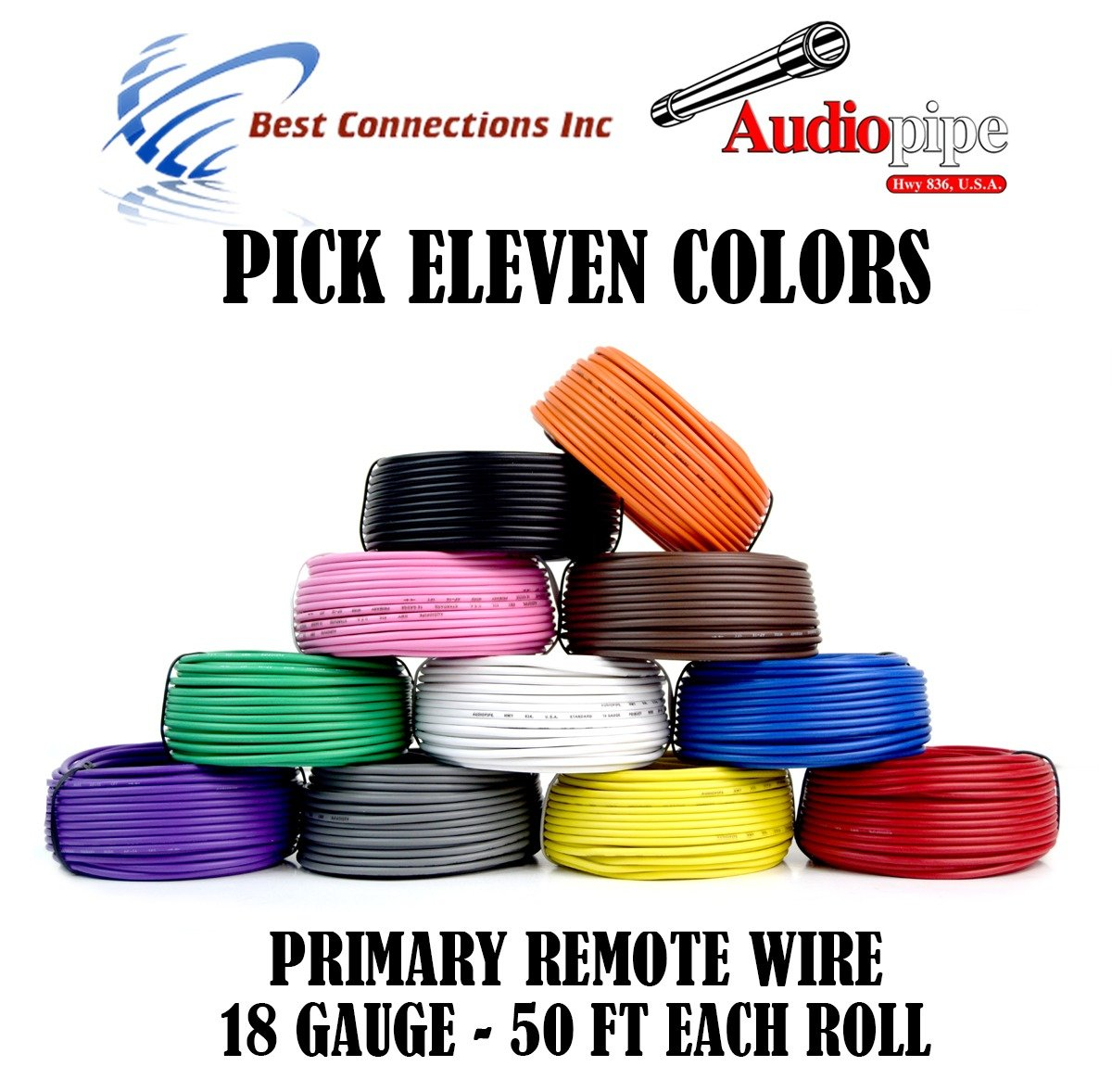 11 Rolls Audiopipe 50' Feet 18 Gauge AWG Primary Remote Wire Auto Power Cable