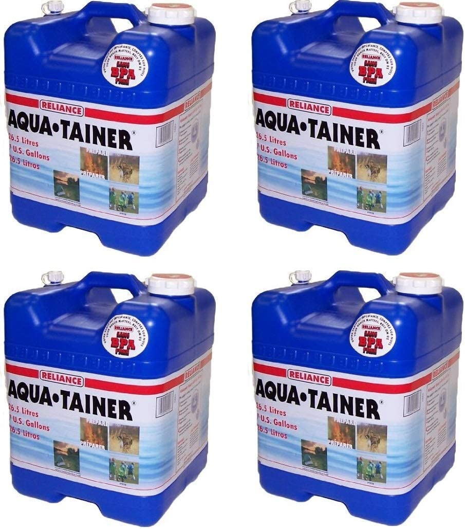 Reliance Products Aqua-Tainer 7 Gallon Rigid Water Container (4 Pack, 7 Gallon)