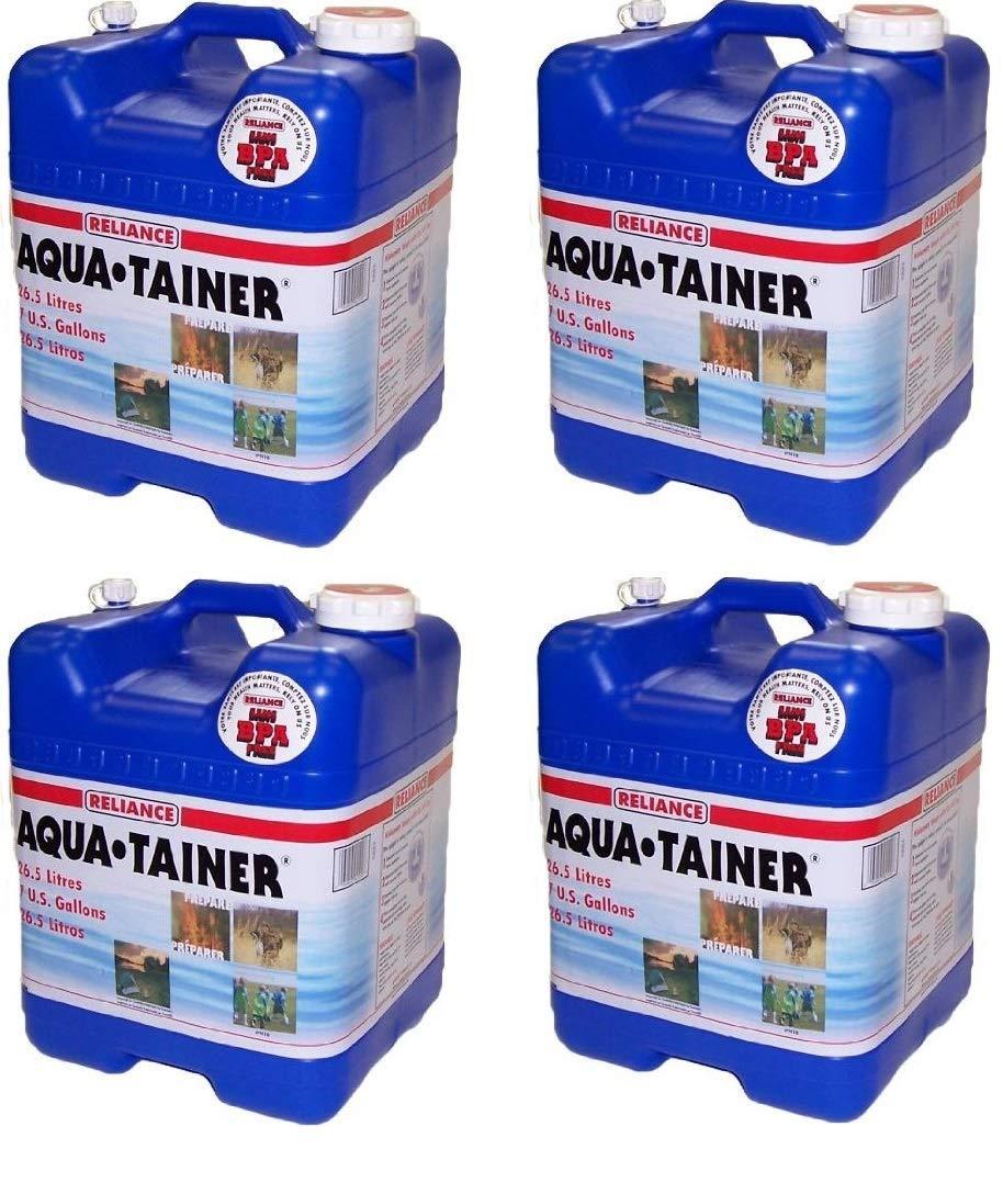 Reliance Products Aqua-Tainer 7 Gallon Rigid Water Container (4 Pack, 7 Gallon) by Reliance Products