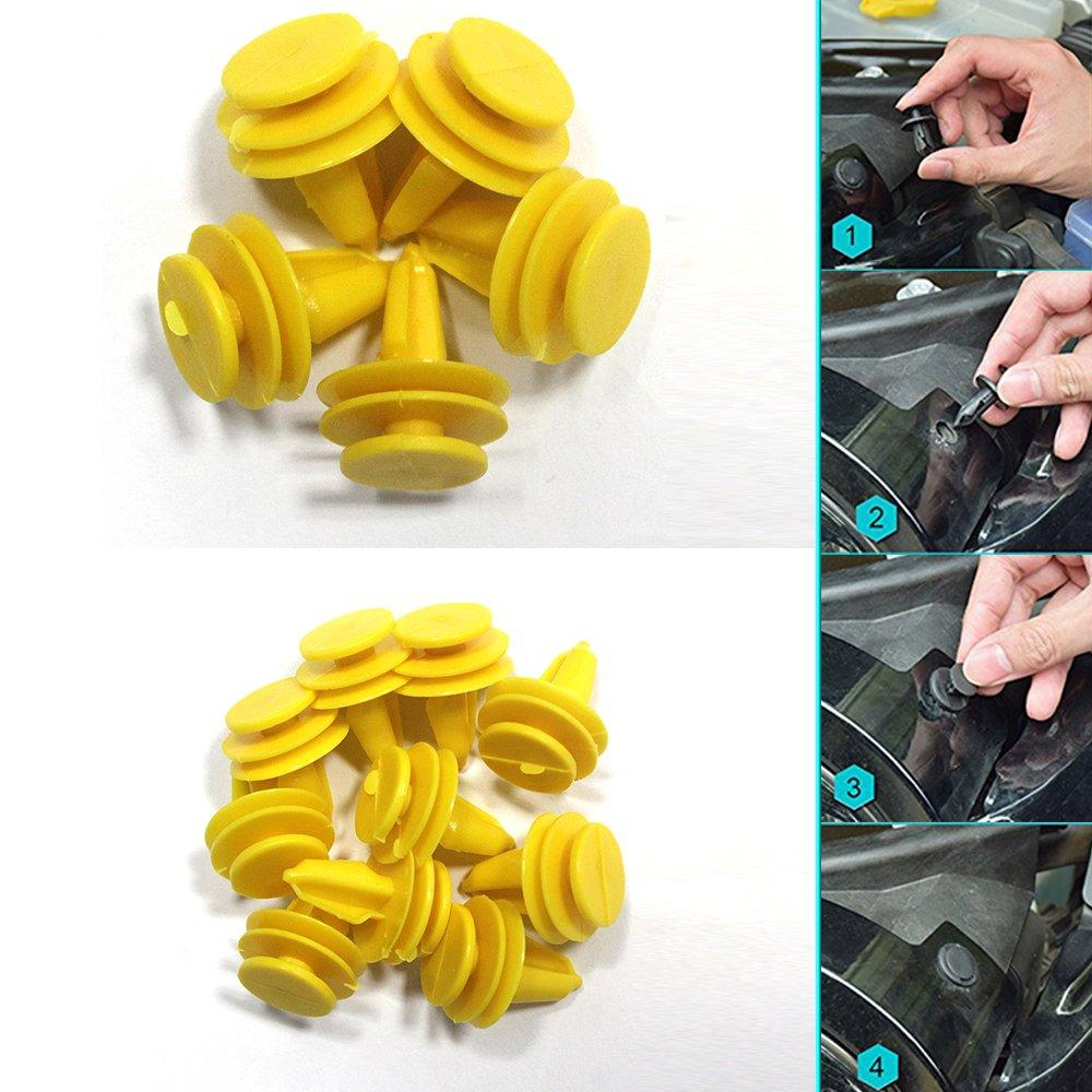 Tuqiang Coches Clips Remache de plastico Empuje Motor Guardabarros Sujetadores Clip de Retención 30 pcs 6507055-AA/6.507.686 AA