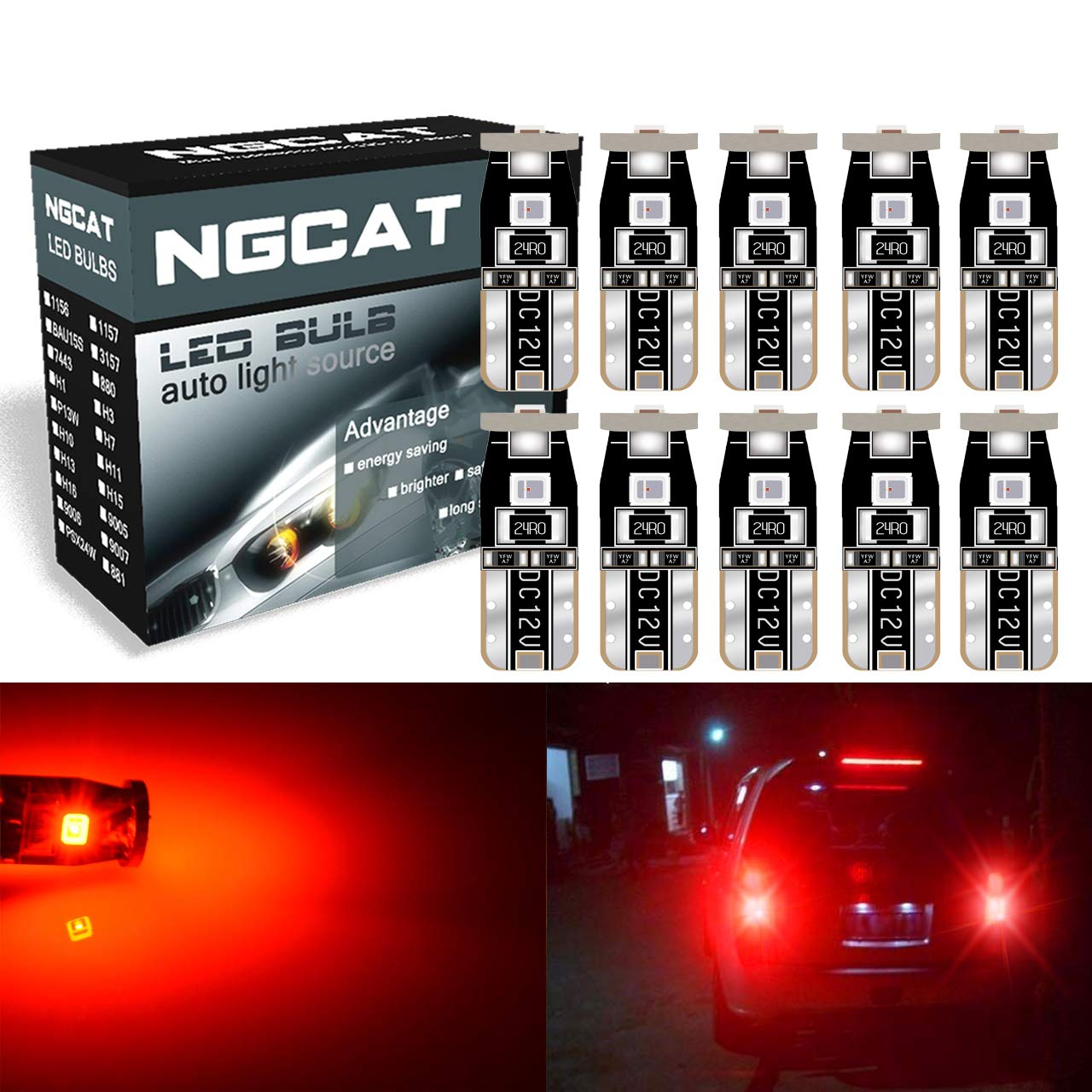 NGCAT 10pcs Extremely Brigh 450 Lumens 3030 Chipset T10 for Car Interior Dome Map Door Courtesy License Plate Lights Compact Wedge T10 168 194 2825 Red 6000K 12V