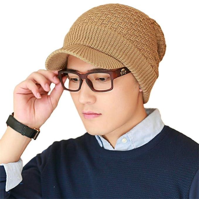 659159e7b93 SIGGI Womens Wool Knit Cable Cuff Visor Beanie Jeep Cap Winter Newsboy Hat  for Men Camel