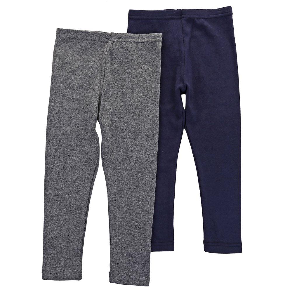 Benetia Toddler Girls Leggings Cotton 2-Pack Gray Bule 3T 4t