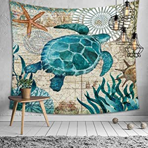 Jasion Sea Turtle Tapestry Ocean Animals Marine Life Wall Hanging Art for Home Headboard Bedroom Living Room Dorm Decor in 51x60 Inches