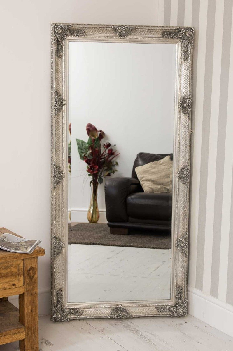 Barcelona Trading Large Silver Vintage Antique Style Shabby Chic Leaner/Wall Mirror - 31in x 65in