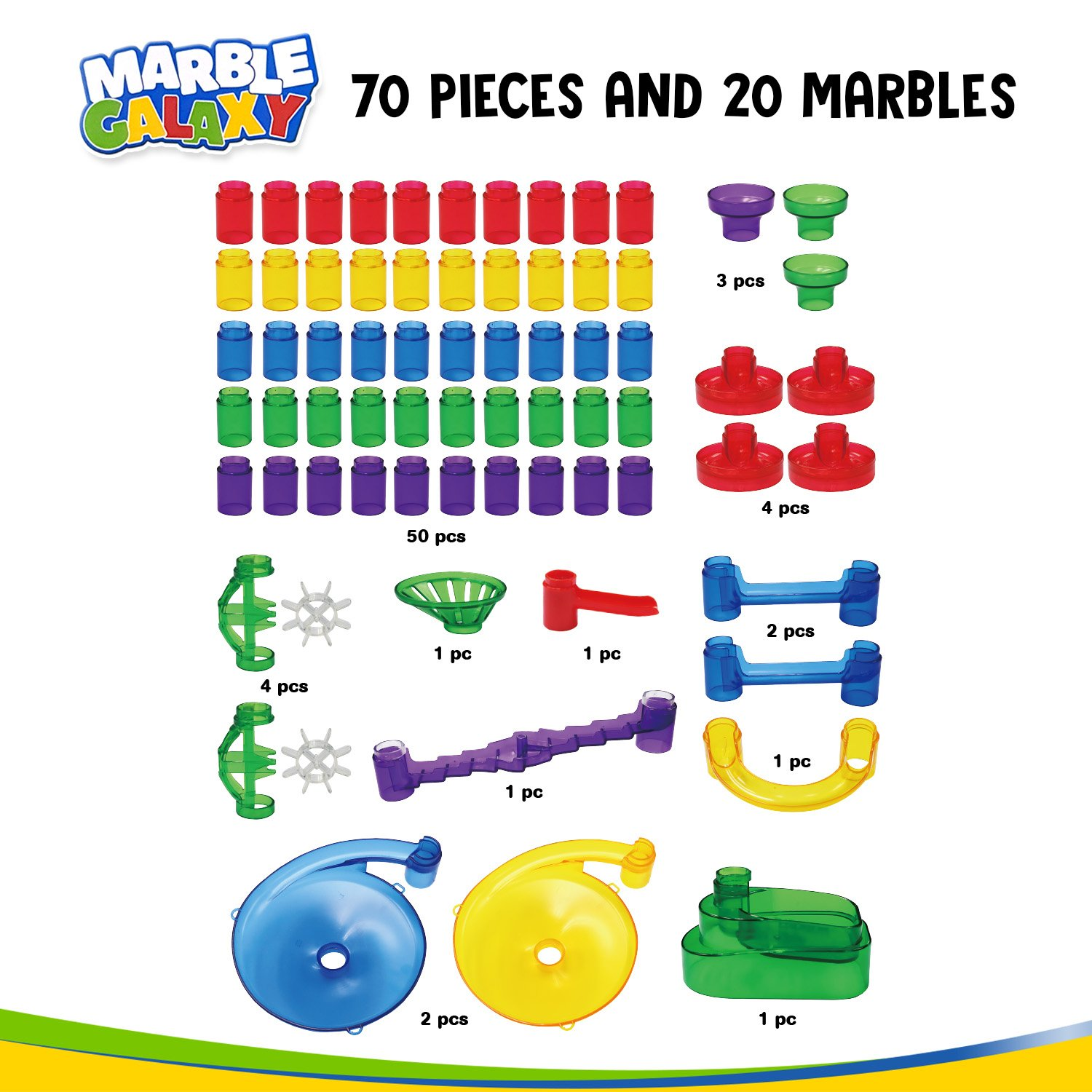 Marble Galaxy Fun Run Set Game Educational STEM Toy Building Construction Games Translucent Marble Maze Race Track Discovery Toys Marble Run Sets for Kids 90 Marbulous Pcs /& Glass Marbles WhizBuilders