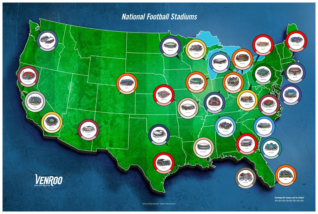 Amazoncom Pro Football Stadium Map Poster Great Gift For Your - Us-map-nfl-teams