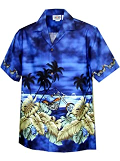KY Mens Breezy Hibiscus Cotton Hawaiian Shirt